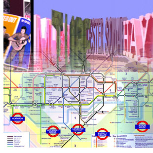 "Screen capture""Cyberpoetry Underground"" by Komninos Zervos. Colorful three-dimensional words common in the vernacular of the London Underground Transport System. Bottom half of picture fades into a route map. Tex: ""Tube Leicester Square Hay..."""